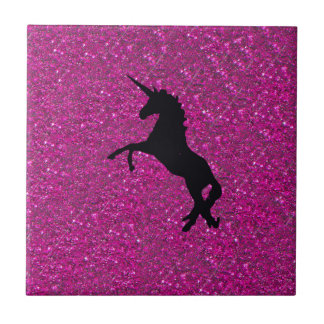 Carreau licorne sur le scintillement rose