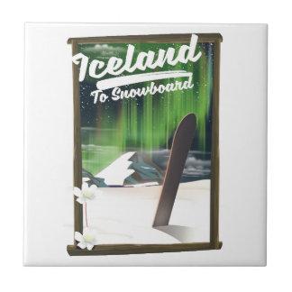 Carreau L'Islande à faire du surf des neiges