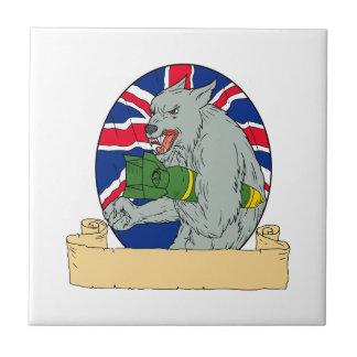 Carreau Loup gris tenant le dessin d'Union Jack de bombe