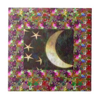 Carreau Lune et étoiles : Arrière - plan élégant de nuit