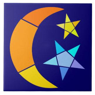 Carreau Lune et étoiles simples