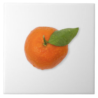 Carreau Mandarine avec la feuille verte