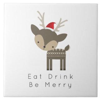 Carreau Mangez la boisson soit des cerfs communs de Joyeux