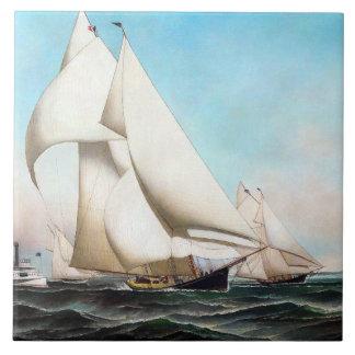 Carreau Mers de régate de yacht naviguant la tuile d'océan