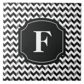 Carreau Motif blanc noir de Chevron de monogramme