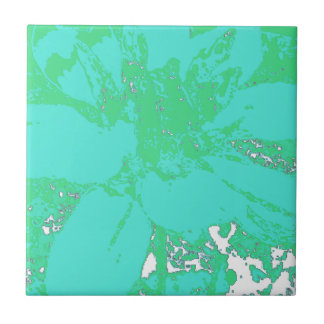 Carreau Motif de fleur floral de dahlia de Teal/Blue.Geen