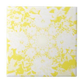 Carreau Motif de fleur floral jaune élégant de dahlia