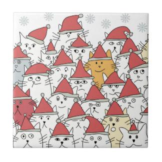 Carreau Motif de Noël avec beaucoup de chats drôles