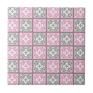 Carreau Motif rose et gris de carrés