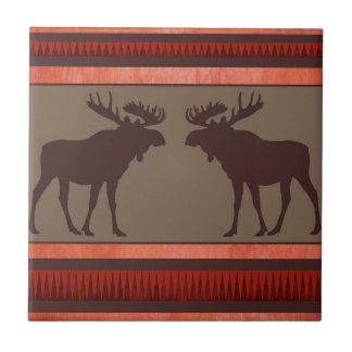 Carreau Motif rouge-brun rustique d'orignaux