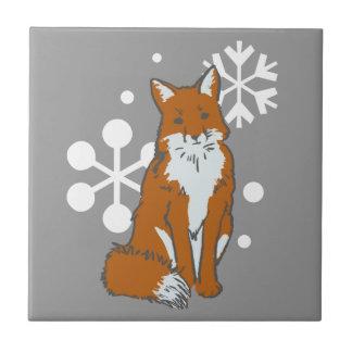 Carreau Motif simple de Fox rouge d'hiver de Milou