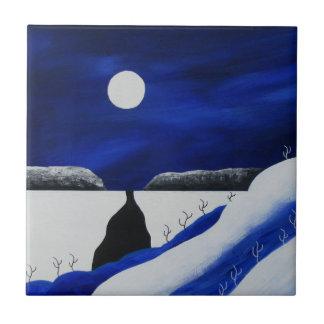 Carreau Noël bleu lumineux de désert de sud-ouest d'hiver