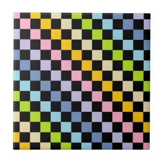 Carreau Noir en pastel Checkered d'arc-en-ciel