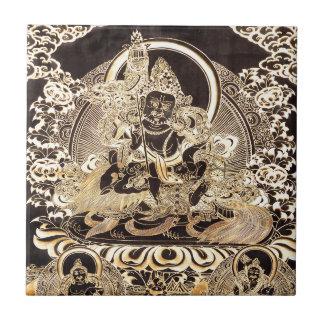 Carreau Noir et art bouddhiste tibétain d'or