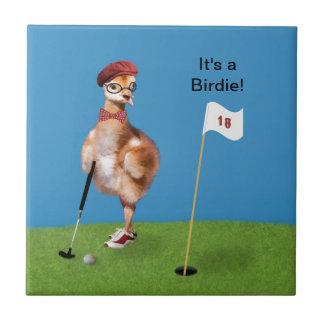 Carreau Oiseau humoristique jouant au golf
