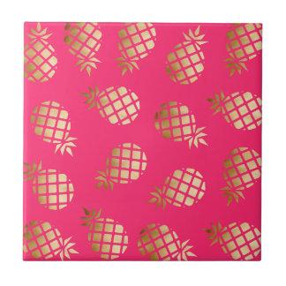 Carreau Or tropical d'été et motif rose d'ananas