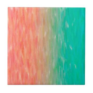 Carreau Orange turquoise d'aquarelle d'Ombre de corail et