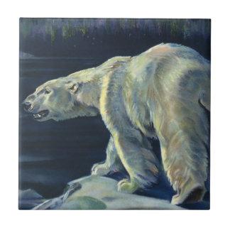 Carreau Ours blanc vintage, animaux arctiques d'espèce
