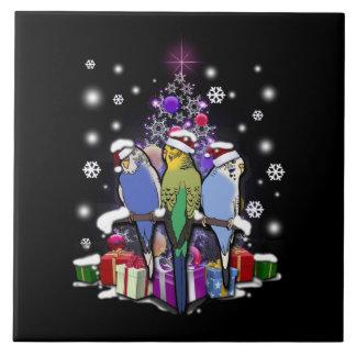 Carreau Perruches avec le cadeau et les flocons de neige