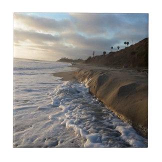 Carreau Photographie des vagues frappant le sable