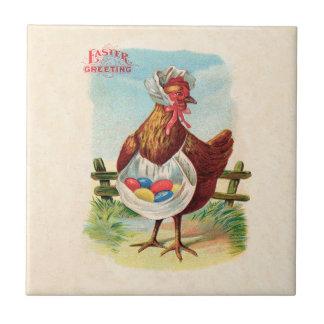 Carreau Poulet vintage de Pâques et oeufs de pâques