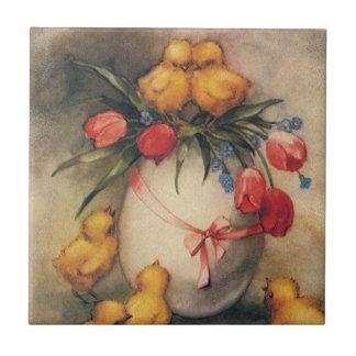 Carreau Poussins vintages de Pâques et tulipes