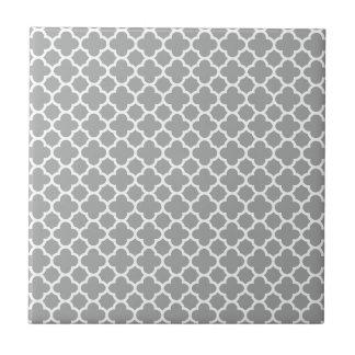 Carreau Quatrefoil gris et blanc