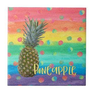 Carreau Rayures et points à la mode d'arc-en-ciel d'ananas