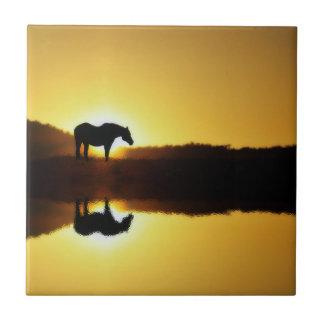 Carreau Réflexion de lever de soleil de cheval dans la