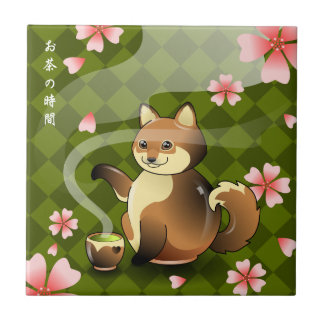 Carreau Repos de théière de Fox Sakura de Sakura Kitsune