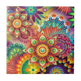 Carreau Rétro abrégé sur floral couleurs
