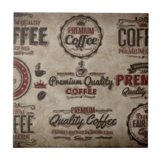 Carreau Rétros étiquettes de café pour des amants de café