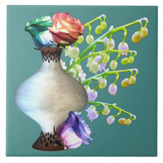 Carreau Roses d'arc-en-ciel dans la tuile de vase à Brown