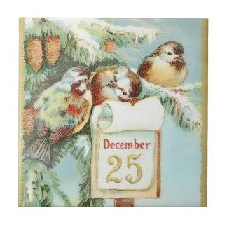 Carreau Scène vintage d'hiver des oiseaux dans un arbre