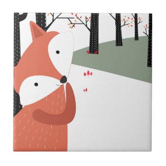 Carreau Sourire mignon vintage de loup de renard de bébé