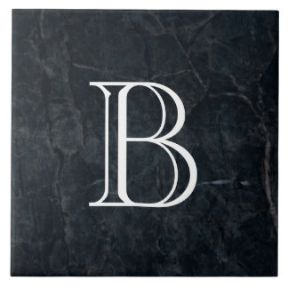 Carreau Texture en pierre noire élégante de monogramme