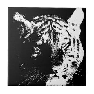 Carreau Tigre noir et blanc d'art de bruit