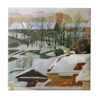 Carreau Toits de ville en hiver par Ivan Shishkin