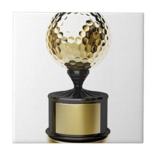 Carreau Trophée d'or avec la boule de golf