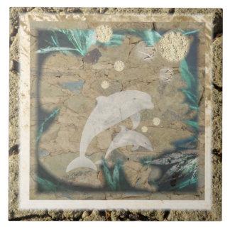 Carreau Tuile antique de dauphin