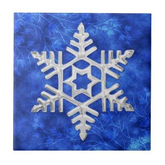 Carreau Tuile argentée bleue givrée de flocon de neige