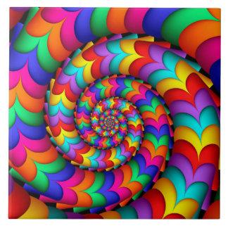 Carreau Tuile bouclée de spirale d'arc-en-ciel de bobine