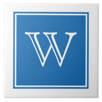 Carreau Tuile carrée de monogramme de bleu