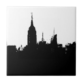 Carreau Tuile de carré de silhouette d'horizon de New York