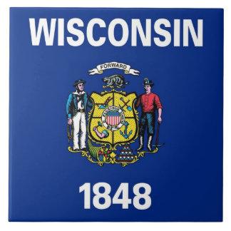 Carreau Tuile de drapeau d'état de Wiscosnin