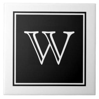 Carreau Tuile de monogramme de carré noir
