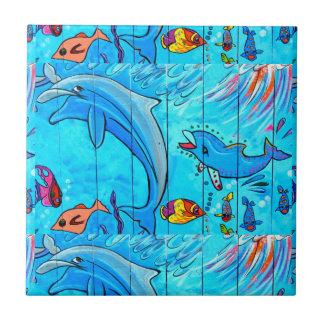 Carreau tuile de sourire de bleu de dauphins