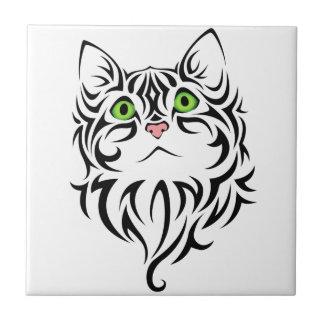 Carreau Tuile rayée du chat 2 de Kitty de visage doux