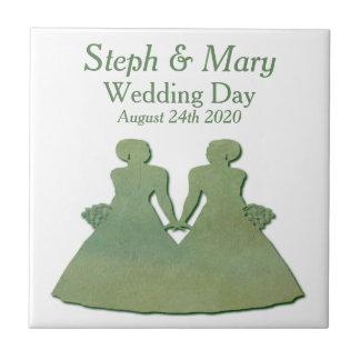 Carreau Tuile rustique verte de jeunes mariées - cadeau de