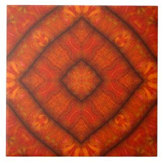 Carreau Tuile vermillonne de Diamant-Mandala de
